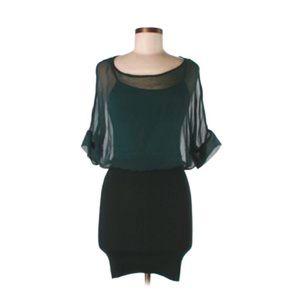 Anthropologie Dresses - Anthro Hunter Green Silk Peplum Sweater Mini Dress